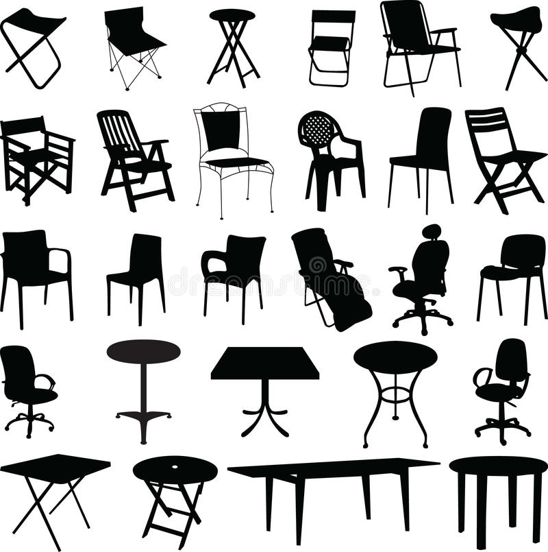 Chair and table silhouette vector royalty free illustration