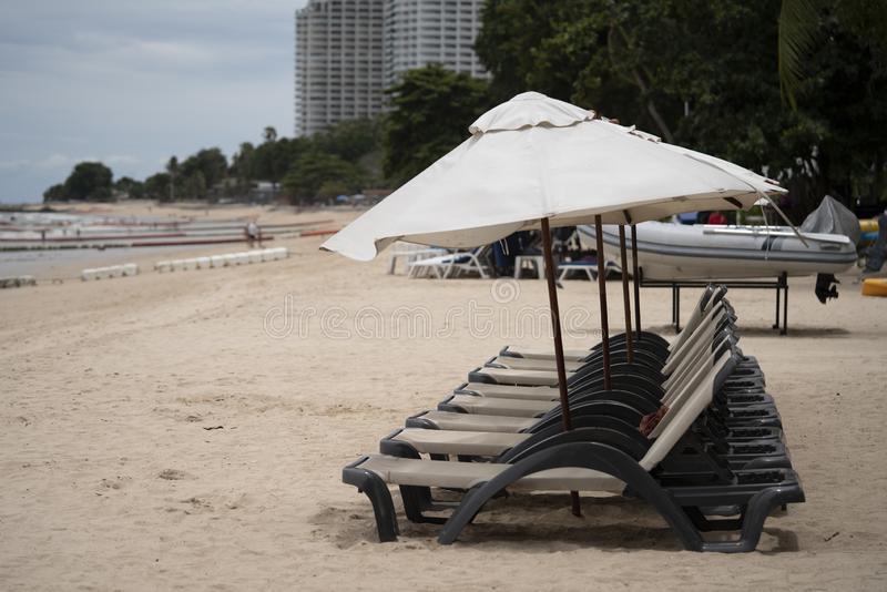 Chair and umbrella on the pattaya beach for background. Chair and umbrella on the pattaya beach thailand stock images