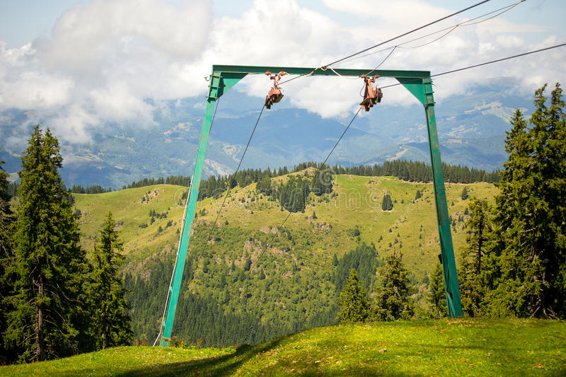 Chairlift cables and pillon. S in Parang Mountains, Southern Carpathians, Romania royalty free stock photo