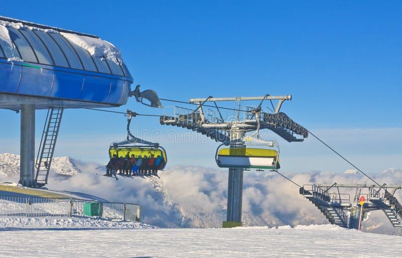 chairlift Estância de esqui Schladming Áustria foto de stock