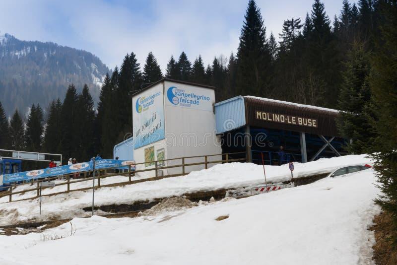 Chairlift Molino - Le Buse. Falcade, Belluno, Italy - March 21, 2015: 4-seater chairlift Molino - Le Buse now removed in the Dolomite Alps ski area San stock photography