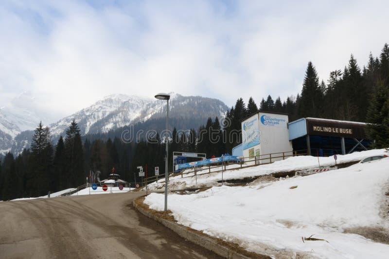Chairlift Molino - Le Buse. Falcade, Belluno, Italy - March 21, 2015: 4-seater chairlift Molino - Le Buse now removed in the Dolomite Alps ski area San stock photo