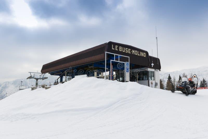 Chairlift Molino - Le Buse. Falcade, Belluno, Italy - March 21, 2015: 4-seater chairlift Molino - Le Buse now removed in the Dolomite Alps ski area San royalty free stock image