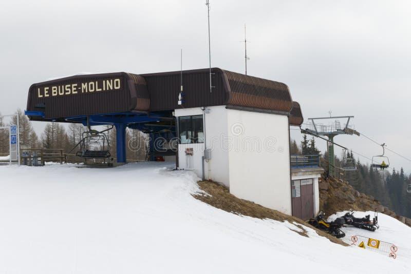 Chairlift Molino - Le Buse. Falcade, Belluno, Italy - March 21, 2015: 4-seater chairlift Molino - Le Buse now removed in the Dolomite Alps ski area San stock photos
