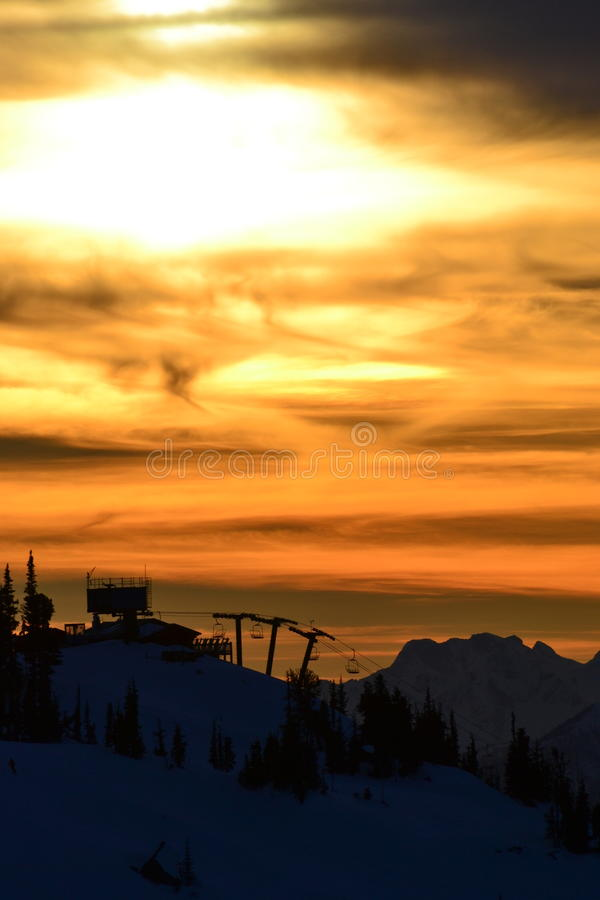 Chairlift Sunset stock photography