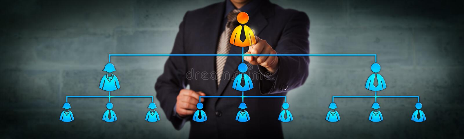 Chairman Highlighting CEO In Organization Chart stock images