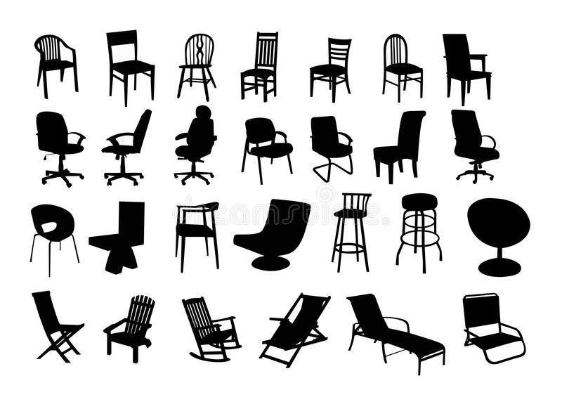 Chairs. Illustration of different types of chairs (27): home, business/executive, contemporary/bar and outdoor/beach chairs stock illustration