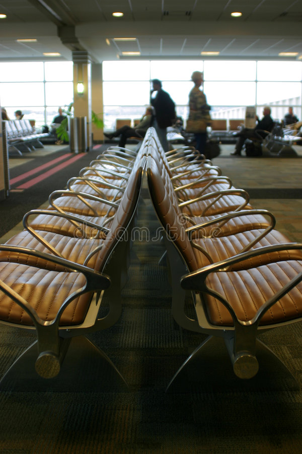 Chairs in airport stock photo