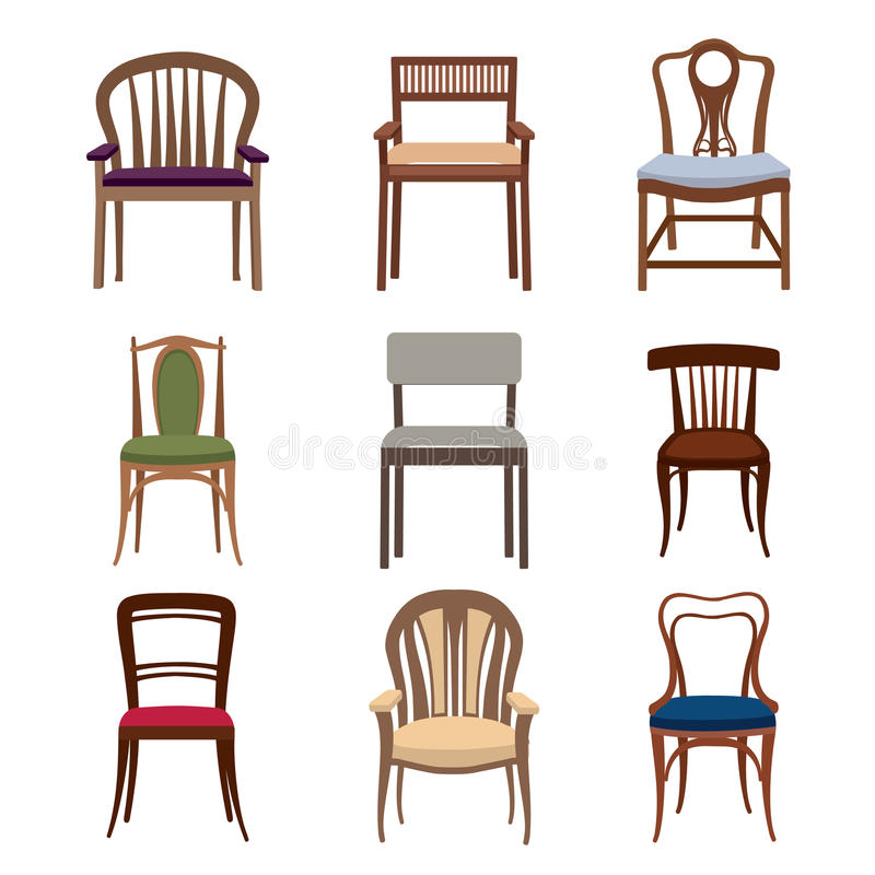 Chairs and armchairs icons set. Furniture collection. Chair in f vector illustration