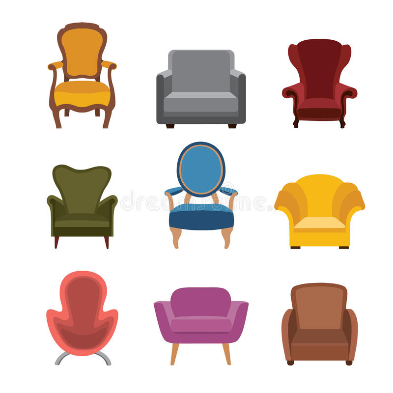 Chairs and armchairs icons set. Furniture collection of different armchairs in flat style. vector illustration
