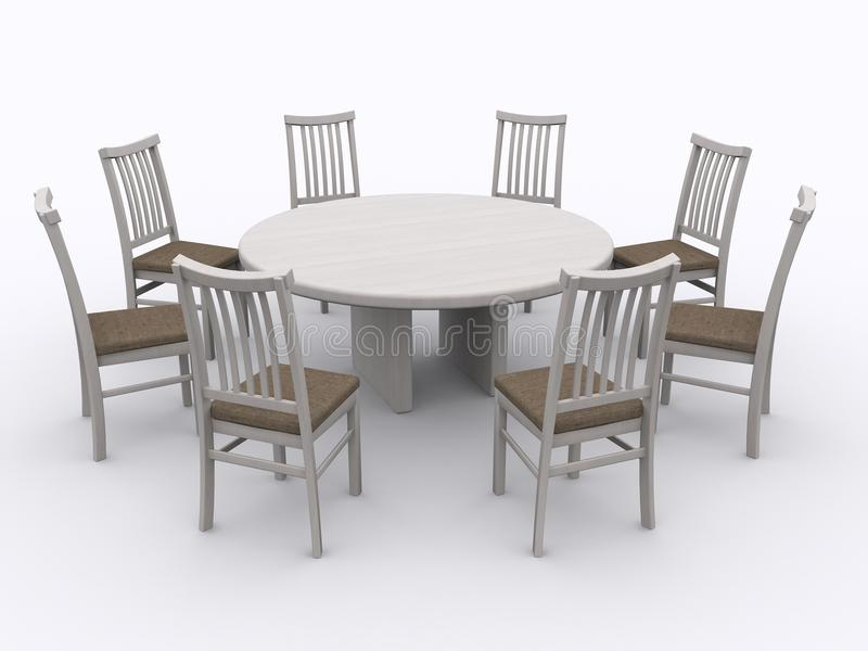 Chairs around a table. On isolated background stock images