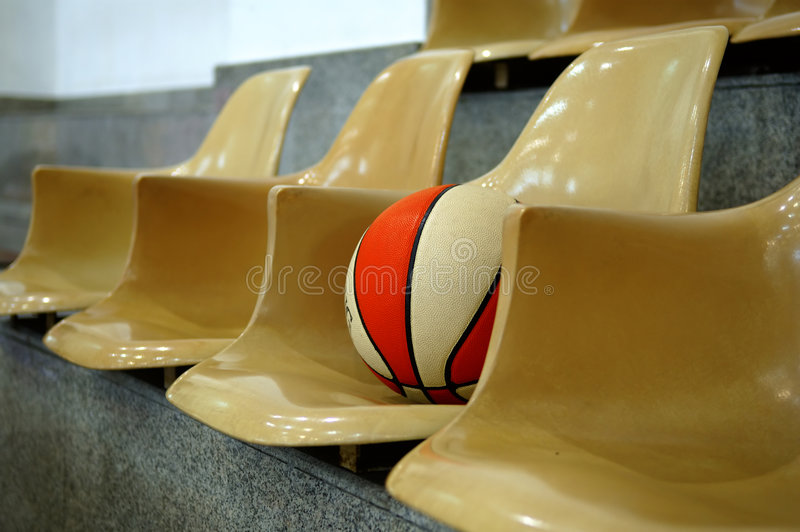 Chairs with basketball royalty free stock photo