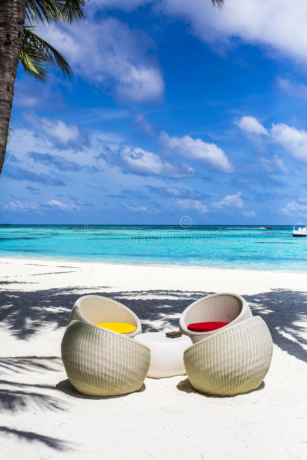 Download Chairs at a beach bar stock image. Image of white, maldives - 75985189