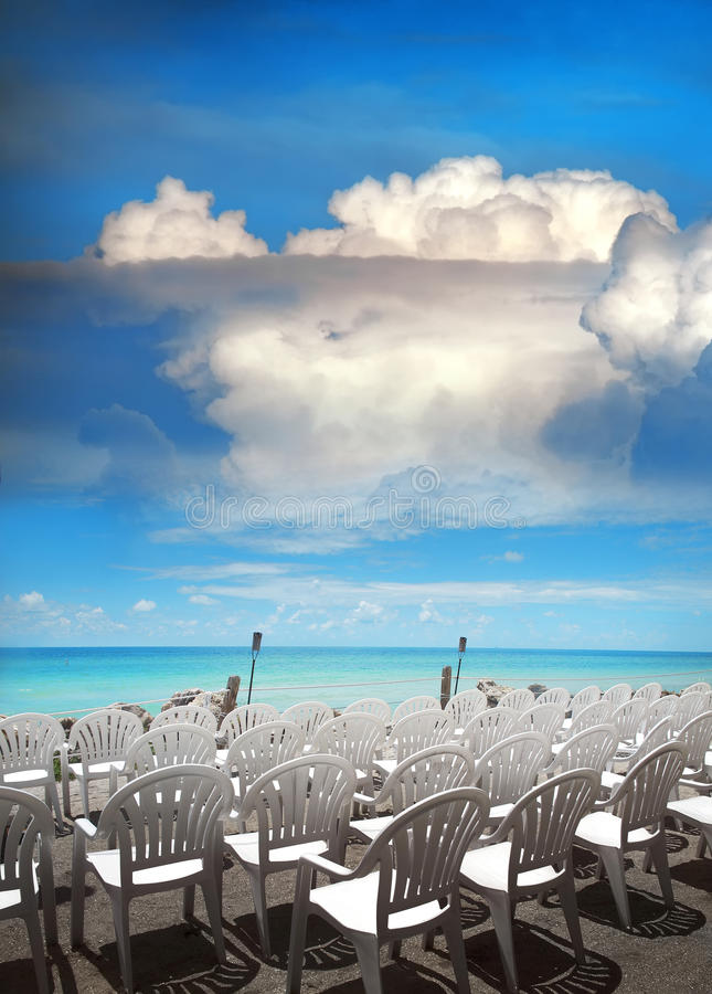 Chairs at beach royalty free stock image