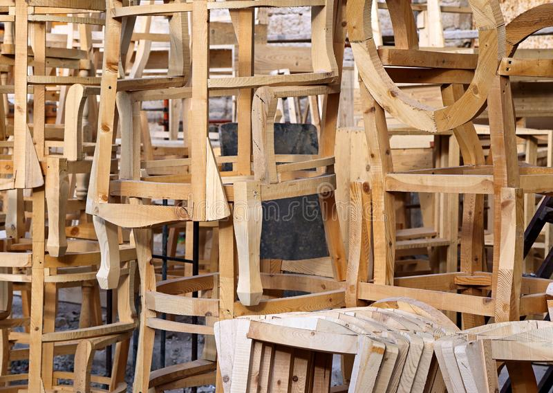 Chairs being built by carpenter in Lebanon. Wooden frames of chairs being built by carpenter Lebanon royalty free stock images