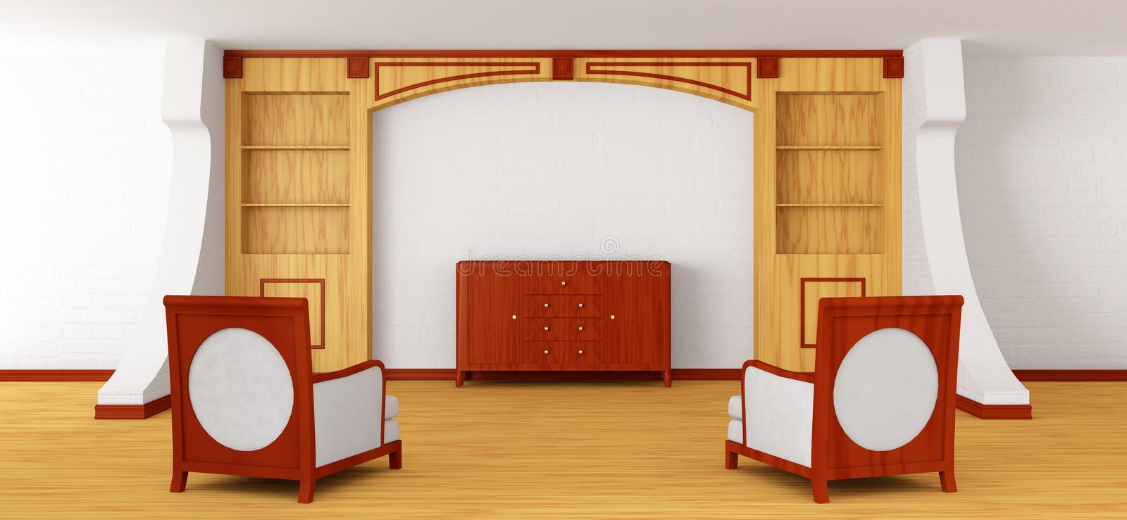 Chairs and bureau with bookcase in modern interior