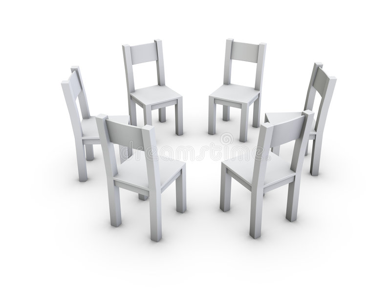 Chairs circle. An isolated circle from simple gray chairs on white background royalty free illustration