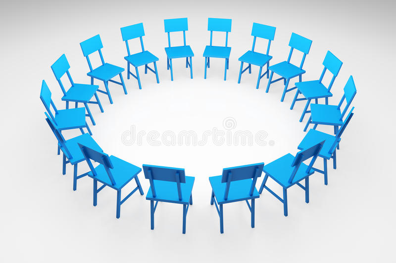 Chairs Circle. 3d render illustration of blue chairs forming a circle royalty free illustration
