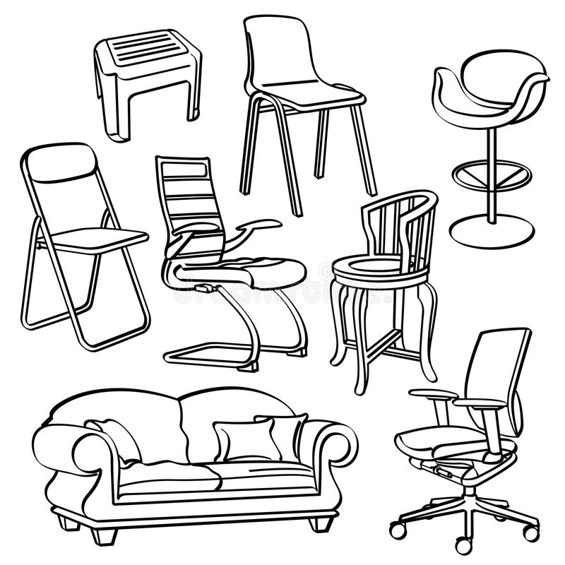Download Chairs Collection Stock Illustration. Illustration Of Drawing    51052206