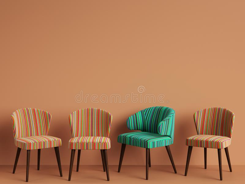 Chairs with colorful stripes pattern on orange backgrond with copy space. Concept of minimalism. Digital illustration.3d rendering mock up vector illustration