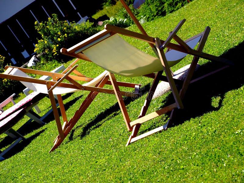 chairs däcket royaltyfria bilder