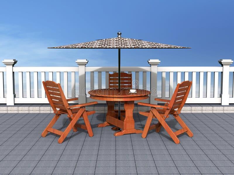 chairs den utomhus- uteplatstabellen royaltyfri bild