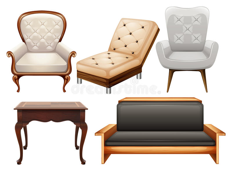 Chairs. Different kind of chairs in luxury designs royalty free illustration