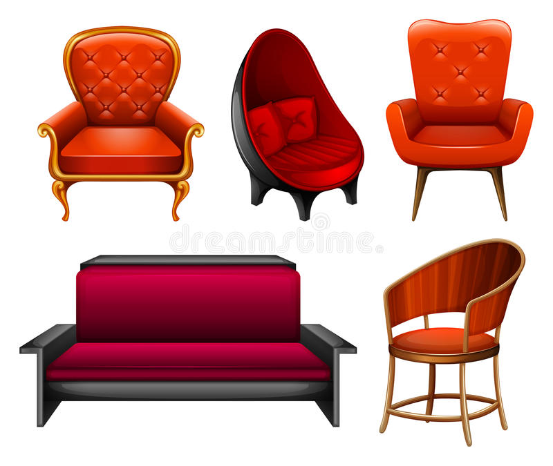Chairs. Different kind of chairs in red stock illustration