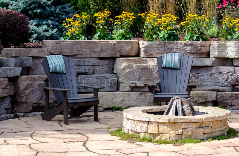 Download Chairs And Fire Pit Patio Stock Image. Image Of Patio   64782239