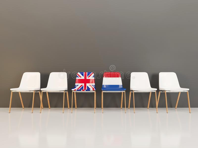 Chairs with flag of United Kingdom and netherlands. In a row. 3D illustration stock illustration