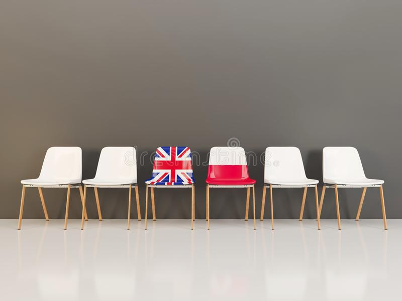 Chairs with flag of United Kingdom and poland. In a row. 3D illustration stock illustration