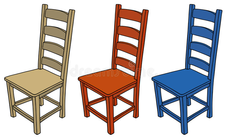 Chairs. Hand drawing of three classic wooden chairs royalty free illustration