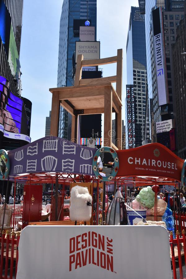 Chairs that inspire on the Chairousel at Times Square in Manhattan, New York royalty free stock photo