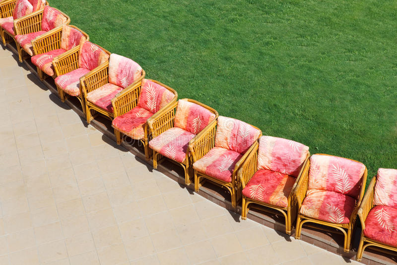 Download Chairs near lawn stock photo. Image of horizontal, soft - 13216150