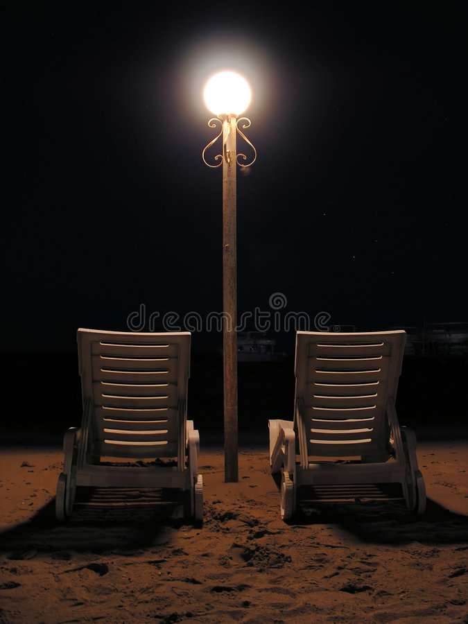 Download Chairs on night beach stock photo. Image of leisure, lamp - 461686