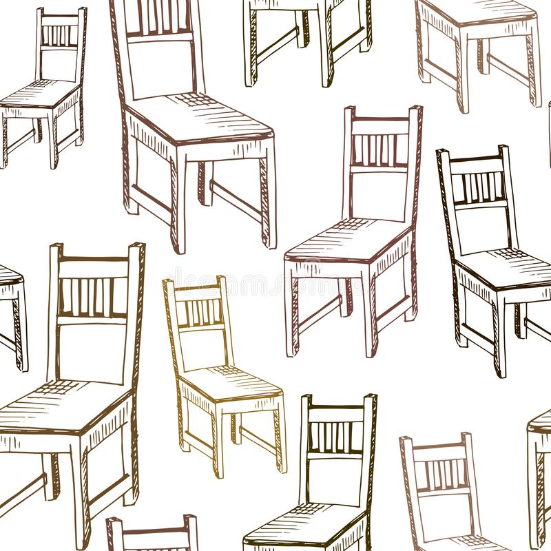 Chairs pattern. Hand drawn brown chairs on white backdrop. Doodle of furniture. Seamless vector background.  stock illustration