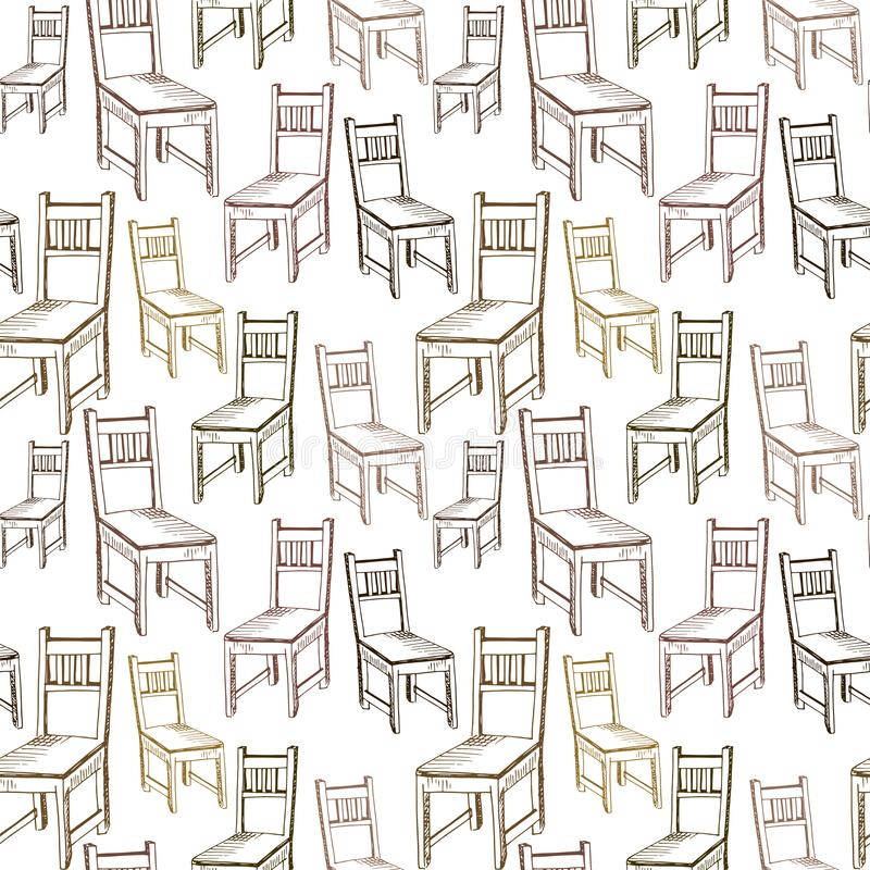 Chairs pattern. Hand drawn brown chairs on white backdrop. Doodle of furniture. Seamless vector background.  vector illustration