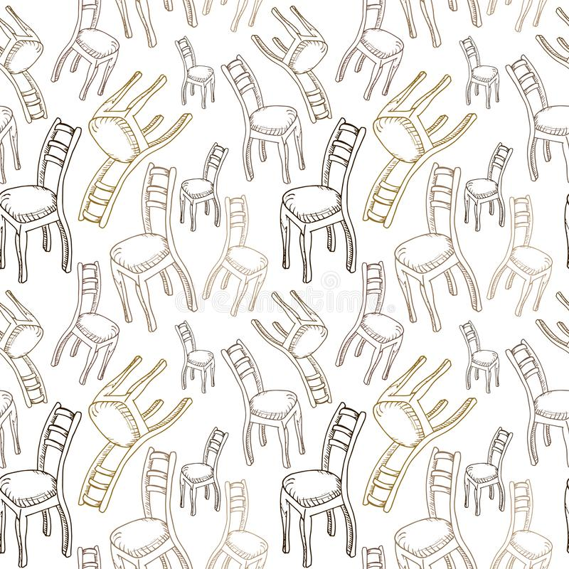 Chairs pattern. Hand drawn brown chairs on white backdrop. Doodle of furniture. Seamless vector background.  royalty free illustration
