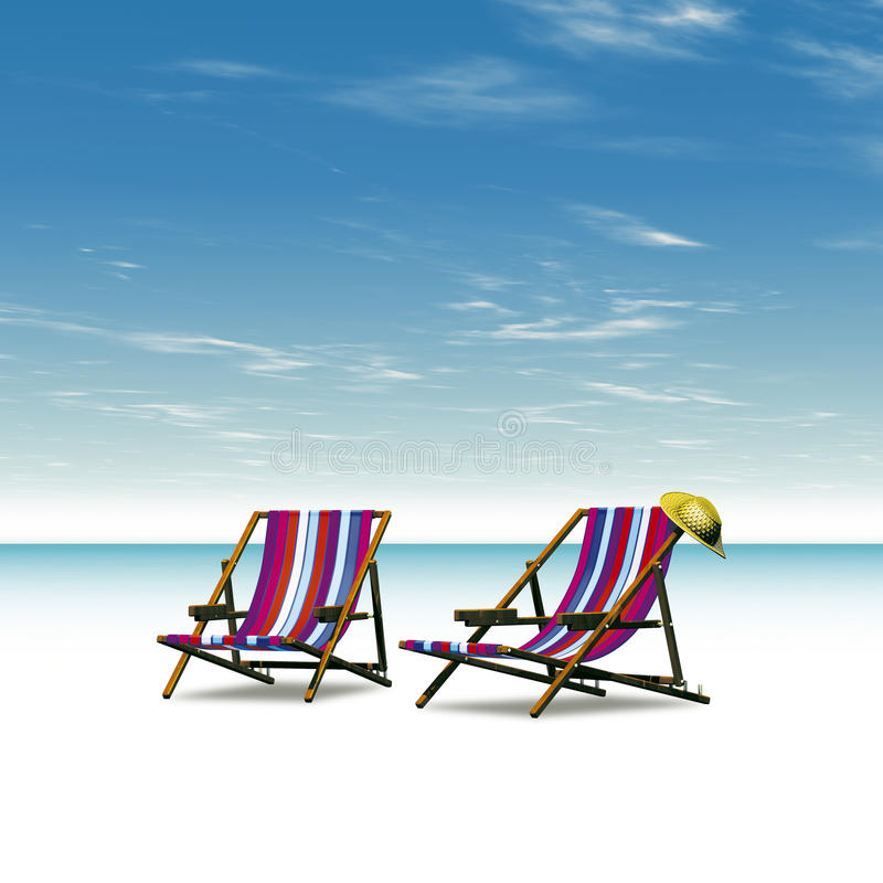 Chairs sea. 3D illustration sea landscape with chairs royalty free illustration