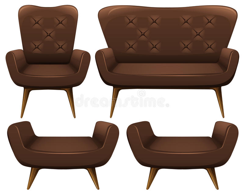 Chairs and sofa in brown color. Illustration stock illustration