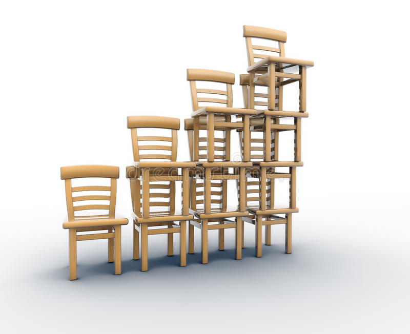 Chairs stack in balance stock illustration
