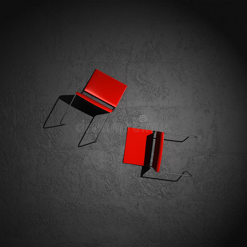 Chairs stretched out on the floor stock photo