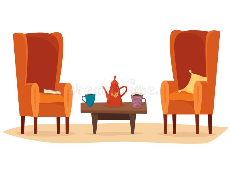 Chairs and table with cups of tea or coffee, teapot, pillow and book. vector illustration
