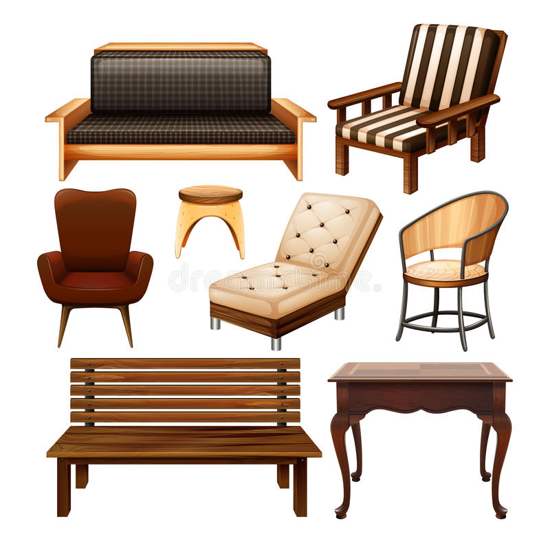 Chairs and table. Different kind of chairs and table royalty free illustration
