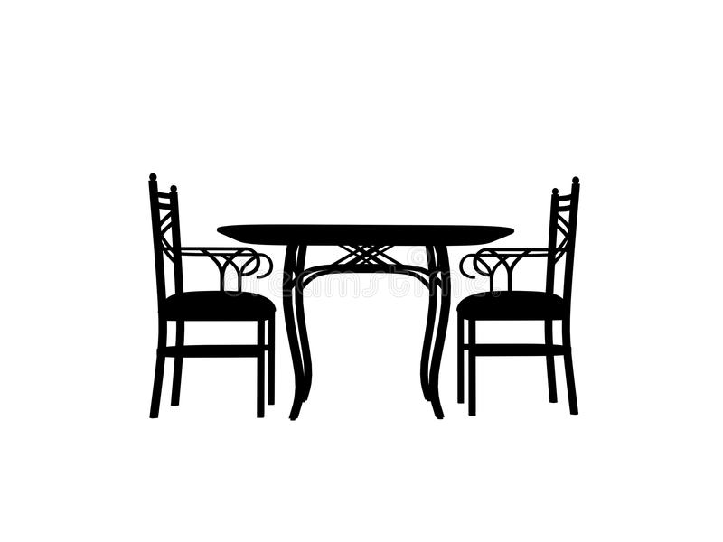 Chairs Table Silhouette Outline Stock Illustration
