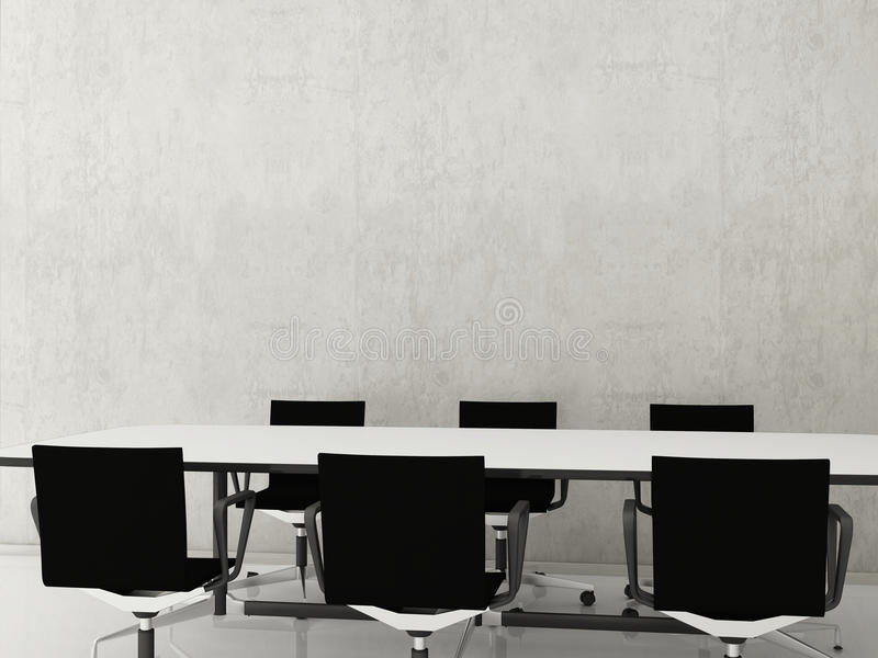 Chairs to face a blank wall stock illustration