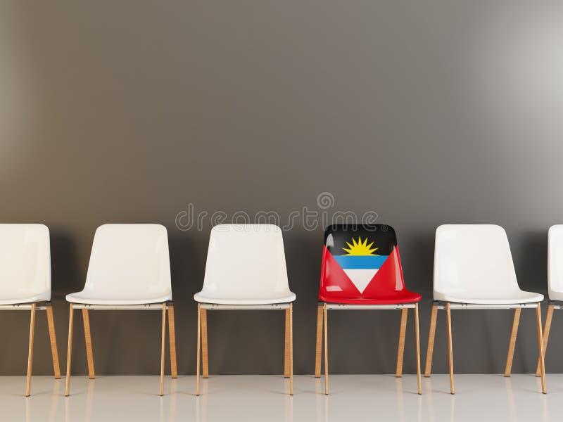 Chaise avec le drapeau de l'Antigua et du Barbuda illustration libre de droits