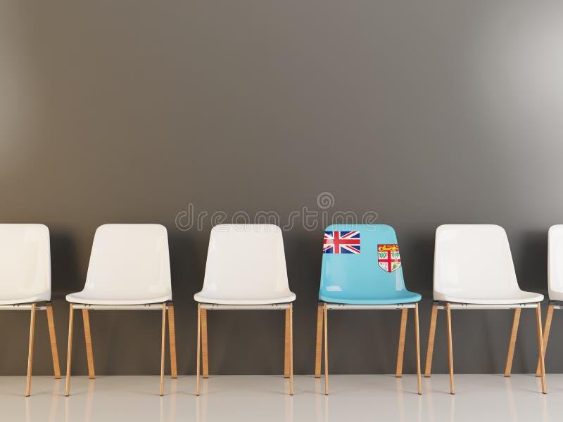 Chaise avec le drapeau du Fiji illustration stock