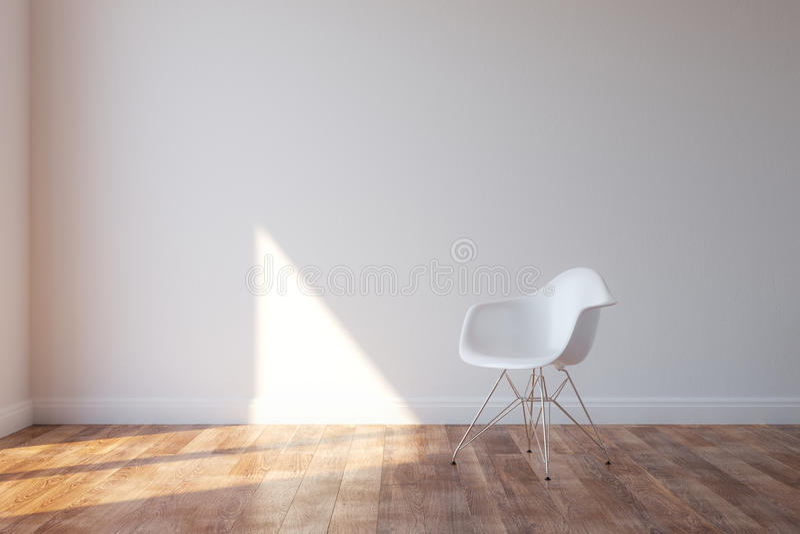 Chaise blanche élégante dans l'intérieur minimaliste de style photographie stock libre de droits