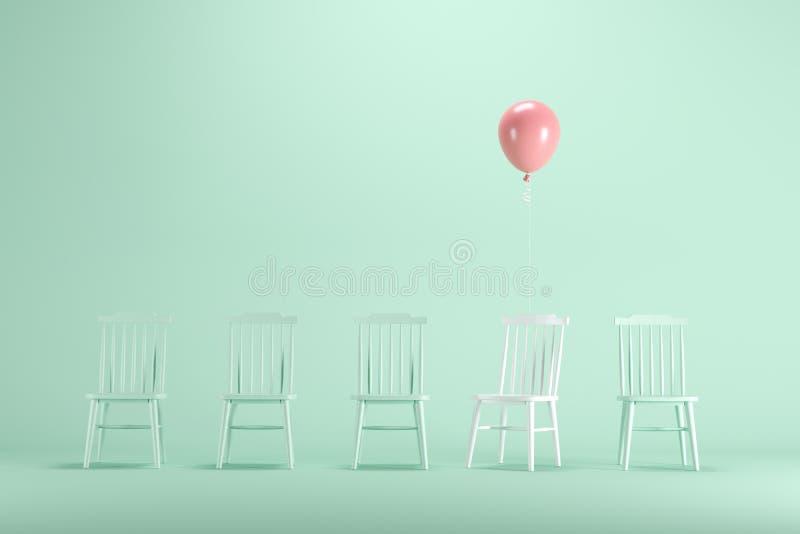 Chaise blanche avec flotter le ballon rose parmi la chaise verte sur le fond vert en pastel illustration stock